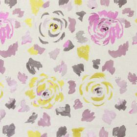 Jamboree - Mulberry - Mulberry pink stitched modern floral pattern with falling petals on sandy fabric