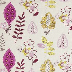 Ferris - Mulberry - White fabric with happy modern floral  and leaf patterns in mulberry purple