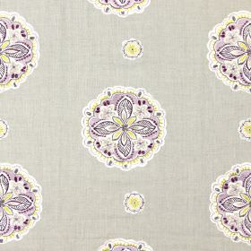 Hoopla - Mulberry - Sandy fabric with a modern mulberry purple large and small flower stitching pattern