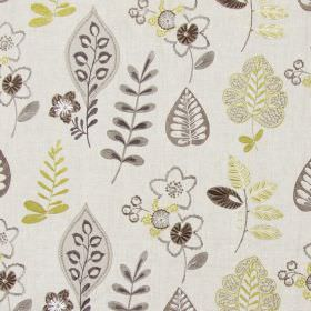 Ferris - Chestnut - Light sandy fabric with happy modern floral  and leaf patterns in chestnut brown