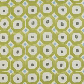 Sayan - Kiwi - Olive green, charcoal, sky blue and pale grey coloured 100% cotton fabric printed with small squares and geometric shapes