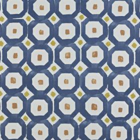 Sayan - Indigo - 100% cotton fabric made in navy blue, icy blue, brown-grey and olive green, with a small square & geometric shape print