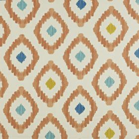 Mira - Jaffa - A fun diamond pattern printed in orange-brown,sky blue, navy and apple green on off-white fabric made from 100% cotton