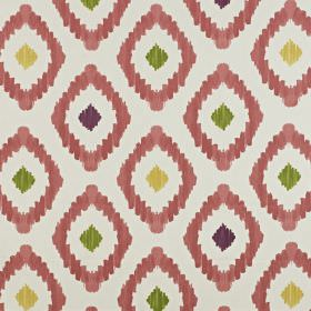 Mira - Berry - Fabric made from 100% cotton with a fun diamond print in pale grey, light yellow, dark purple, forest green and raspberry