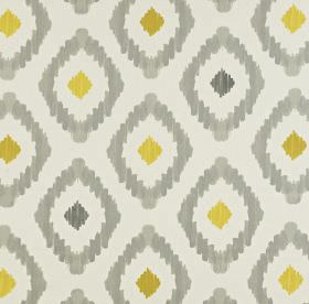 Mira - Saffron - Light and dark shades of grey and gold making up a fun diamond print pattern on fabric made entirely from cotton