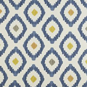 Mira - Indigo - Fabric made from navy, pink-brown, white, grey and golden yellow coloured 100% cotton fabric, with a fun diamond pattern