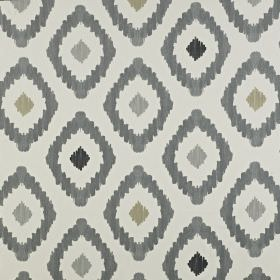 Mira - Onyx - Various different light and dark shades of grey making up a fun, repeated diamond pattern on 100% cotton fabric