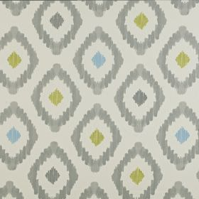 Mira - Slate - Very pale grey 100% cotton fabric printed with a fun diamond pattern in light shades of grey, blue and green