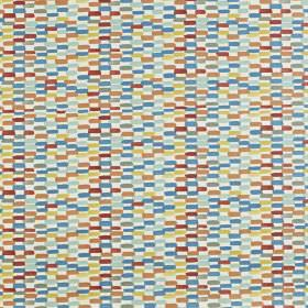Batik - Jaffa - Small dashes in white, burgundy, yellow and shades of blue making up vertical stripes on fabric made from 100% cotton