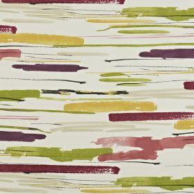 Sabu - Berry - White 100% cotton fabric printed with watercolour style streaks in grass green, mustard yellow & shades of purple & pink