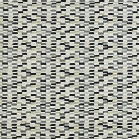 Batik - Onyx - Black and various shades of grey making up small dashes arranged in vertical stripes on 100% cotton fabric