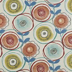 Indah - Jaffa - Circular stylised flowers printed in light shades of red, green and blue on fabric made from 100% cotton