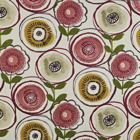 Indah - Berry - 100% cotton fabric, printed with circular, stylised florals in light grey, gold, forest green and light red-purple