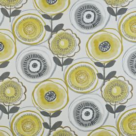 Indah - Saffron - Floral patterned 100% cotton fabric with a circular, stylised pattern in white and several shades of yellow and grey