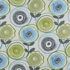 Indah - Apple - Light and dusky shades of blue and green making up a stylised, circular floral pattern on 100% cotton fabric in white