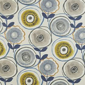 Indah - Indigo - Fabric made from floral patterned 100% cotton with a stylised, circular design in gold, navy, light blue and grey