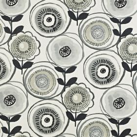 Indah - Onyx - Fabric made from 100% cotton with a circular, stylised floral design in black and various different light shades of grey