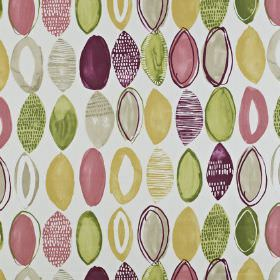 Lombok - Berry - Plain and patterned rough oval shapes printed in purple, green, pink and creamy gold shades on white 100% cotton fabric