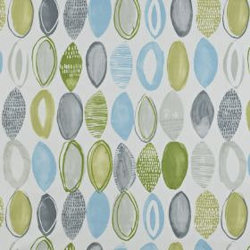 Lombok - Apple - Light shades of blue, grey and olive green making up a plain & patterned rough oval pattern on white 100% cotton fabric