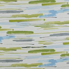 Sabu - Apple - Various shades of olive green, light blue and grey making up watercolour effect streaks on white 100% cotton fabric