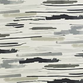 Sabu - Onyx - 100% cotton fabric printed with watercolour effect streaks in various different shades of grey