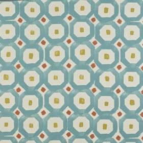 Sayan - Jaffa - Small squares and geometric shapes printed in dark red, apple green and sky blue on a white 100% cotton fabric background