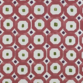 Sayan - Berry - Mulberry, forest green and slate grey coloured small squares and geometric shapes on pale blue-white 100% cotton fabric