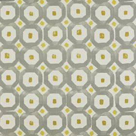 Sayan - Saffron - Fabric made from 100% cotton with small squares and geometric shapes in olive green, light gold, pale grey and steel grey