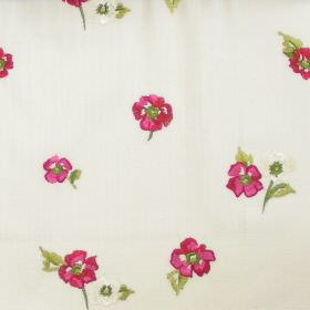 Buckingham - Rose - Small rose pink flowers on white fabric