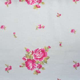 Elizabeth - Azure - Big and small pink flowers on azure blue fabric