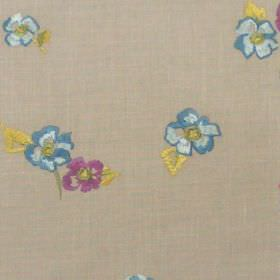Buckingham - Amethyst - Small blue flowers on sandy fabric