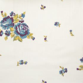 Elizabeth - Heliotrope - Big and small heliotrope purple flowers on white fabric