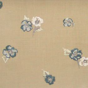 Buckingham - Denim - Small denim blue flowers on brown fabric
