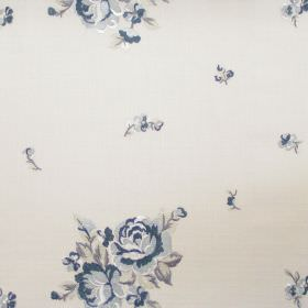 Elizabeth - Denim - Big and small denim blue flowers on white fabric