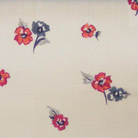 Buckingham - Spice - Small spice red flowers on white fabric