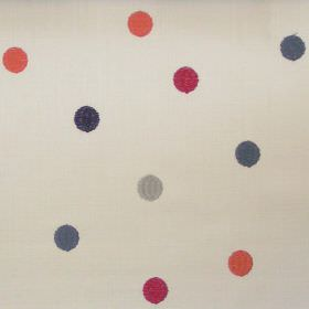 Sandringham - Spice - White fabric with blue and spice red spots