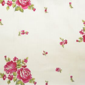 Elizabeth - Rose - Big and small rose pink flowers on white fabric