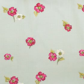 Buckingham - Azure - Small rose pink flowers on azure blue fabric