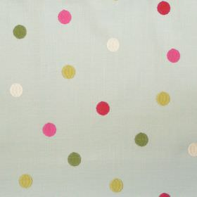 Sandringham - Azure - Azure blue fabric with pink and green spots