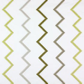 Sassan - Olive - Lime green, grey and olive green zigzags embroidered vertically onto white polyester and cotton blend fabric