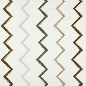 Sassan - Parchment - Polyester and cotton blended into a white fabric with an embroidered zigzag design in white and two shades of brown