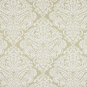 Simin - Limestone - Fabric made from cotton and polyester in light brown, with a large, detailed, ornate pattern in white
