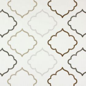 Karim - Parchment - White polyester and cotton blend fabric embroidered with hollow curved shapes in white, charcoal and two shades of brown