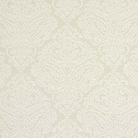 Simin - Parchment - Very subtly patterned fabric made from a blend of cotton and polyester, with a large ornate pattern in pale grey & white