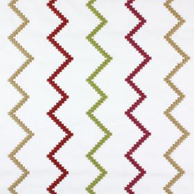 Sassan - Garnet - Red, green and gold vertical zigzags as an embroidered pattern on white fabric made from a mix of polyester and cotton