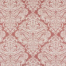 Simin - Garnet - Cotton and polyester blend fabric in dusky red, patterned with a large, ornate design in a light shade of grey