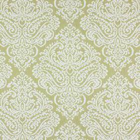 Simin - Olive - Cream coloured cotton and polyester blend fabric with a plain white large, ornate pattern on top