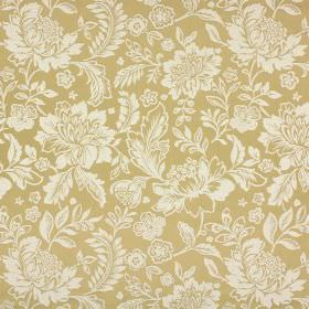 Sara - Gold - Cream and gold coloured cotton and polyester blend fabric with a large, subtle flower and leaf pattern