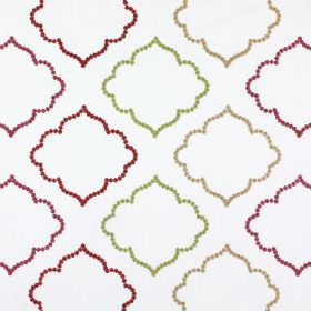 Karim - Garnet - Pink, red, light brown and green hollow, curved shapes embroidered on white fabric blended with polyester and cotton
