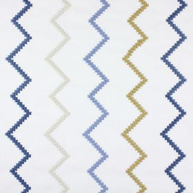 Sassan - Denim - Zigzag patterned polyester and cotton blend fabric in white, with a gold, Royal blue and white embroidered pattern